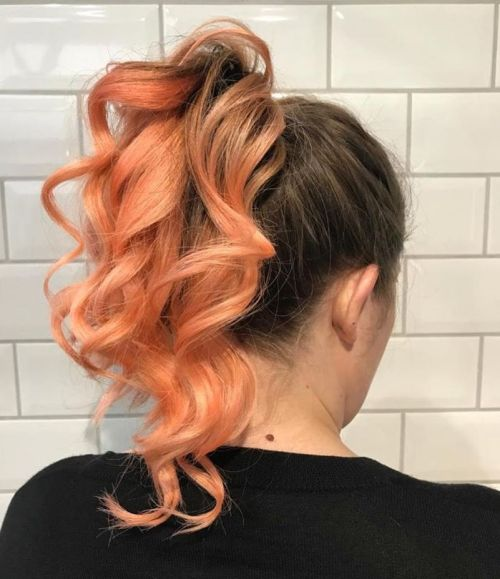 Peach Ombre With Ponytail
