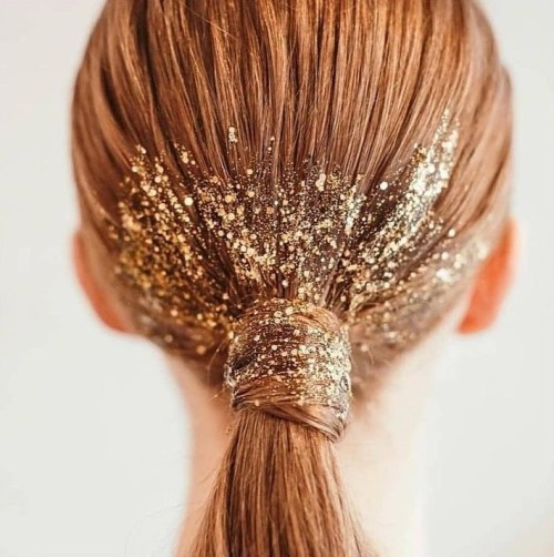 Sparkly Low Ponytail