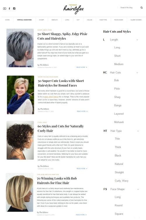 Website with Ideas for Those Who Don't Know What Haircut to Get