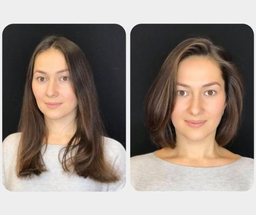 Long Hair Cut Sholder-Length Before and After