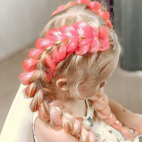 Two Goddess Braids with Pink Kanekalon
