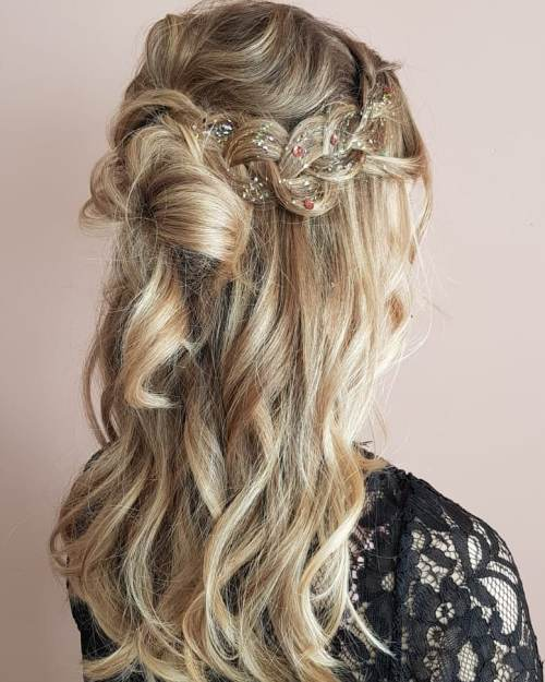 Hairstyle With a Loose Braid Sprayed With Glitter Spray