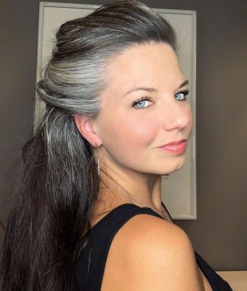 Woman with Premature Gray Hair