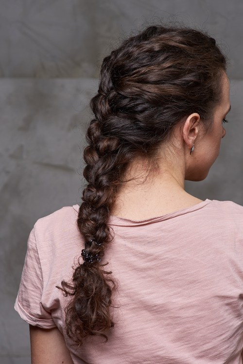 French Braid on Curly Hair
