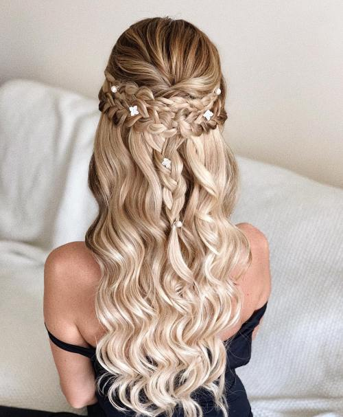Half Up Half Down Hairstyle with Plaits Finished with Dainty Pins