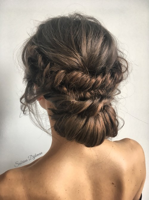 Updo with Double Braids and a Low Bun