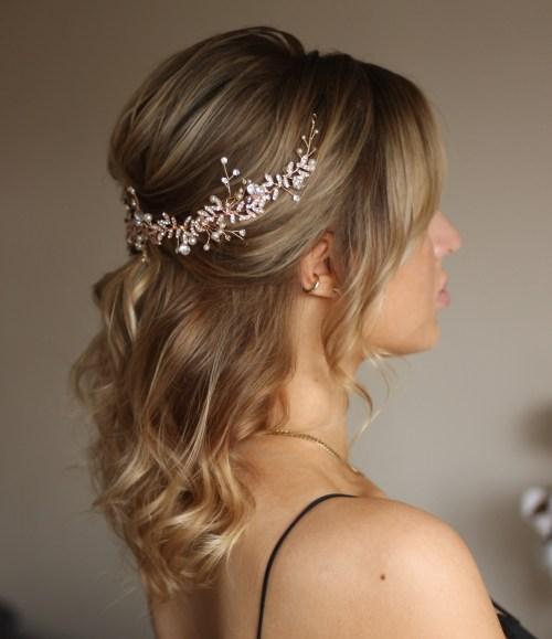 Half Up Half Down Hair Embellished with Bridal Hair Vine
