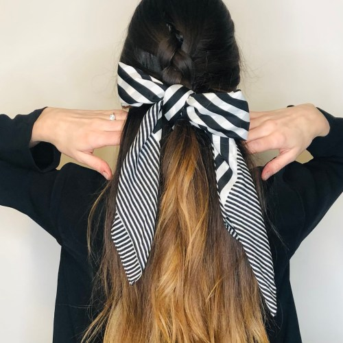 Half-Up French Braid Hairstyle with a Scarf