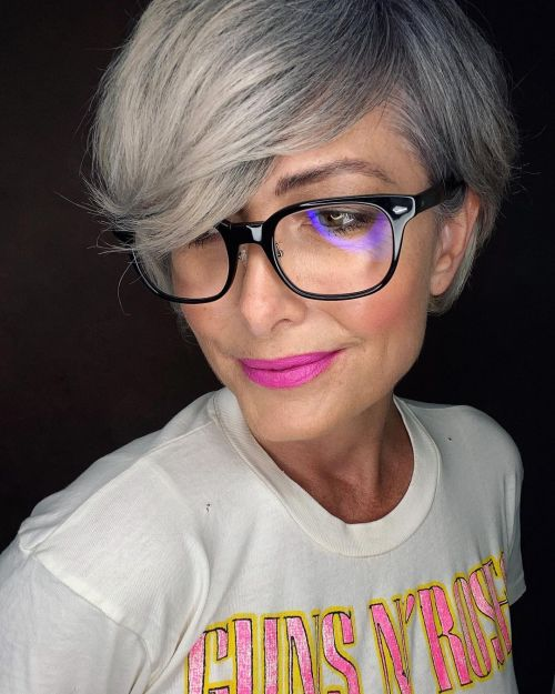 Ashy Long Pixie with Gray Hair Growing In