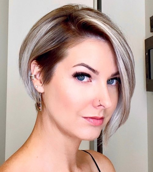 Blonde Undercut Bob with Shadow Roots