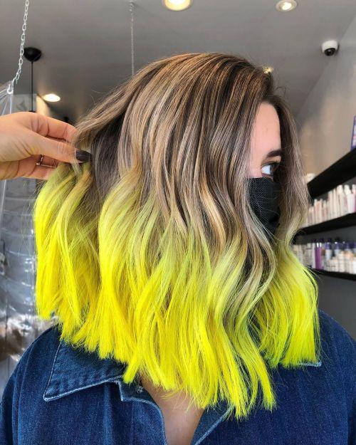 Yellow Dip Dye with Dark Blonde Balayage