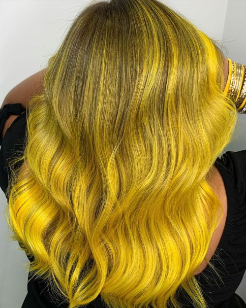 Yellow Highlights on Dark Hair