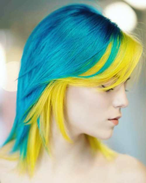 Neon Yellow and Blue Hairstyle