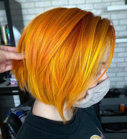 Sleek Ginger Bob with Subtle Yellow Highlights
