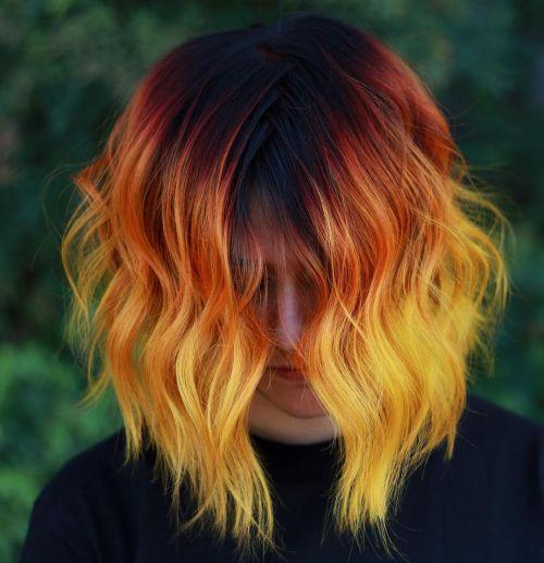 Black Orange Yellow Hair