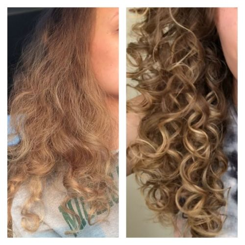 Dry Curly Hair With and Without Styling