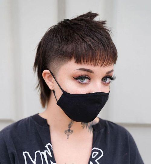 Brunette Girl with a Modern Mullet