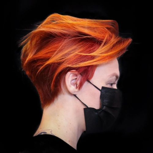 Razored Red Pixie with Copper Highlights