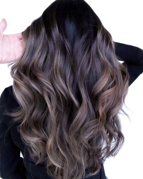 Soft Ash Brown Balayage on Dark Hair