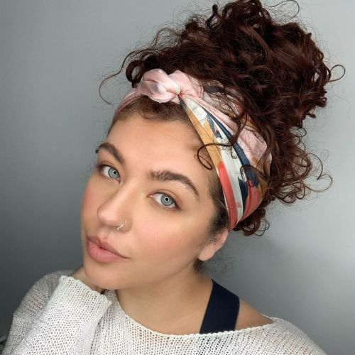 Updo and a Silk Wrap on Curly Hair