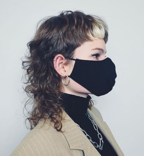 Brown Curly Mullet Hairstyle
