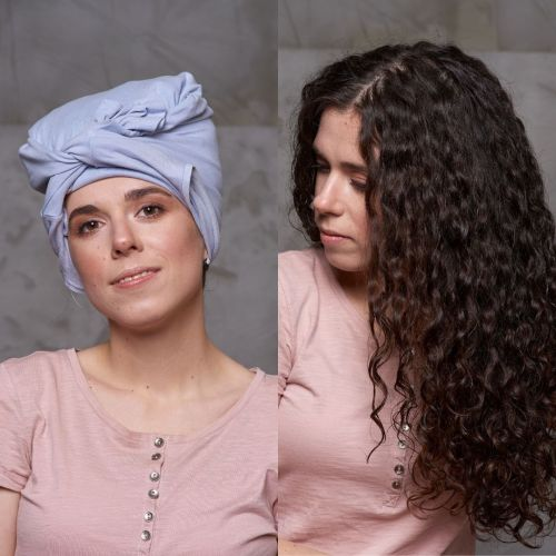 Plopping Method for Curly Hair Before and After