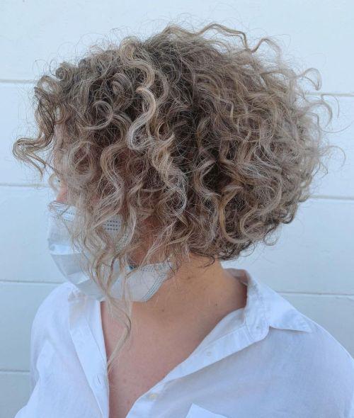 Ash Blonde Curly Bob