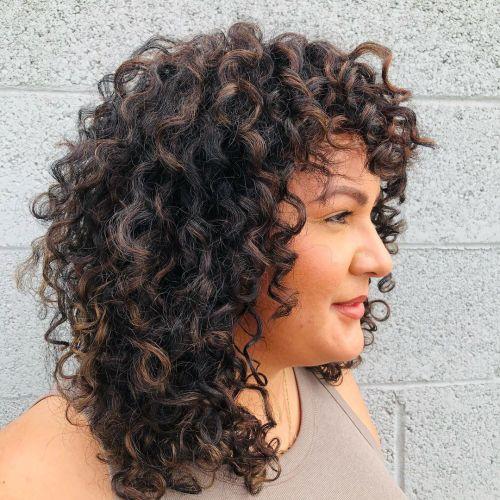 Medium Brown Highlights on Dark Curly Hair