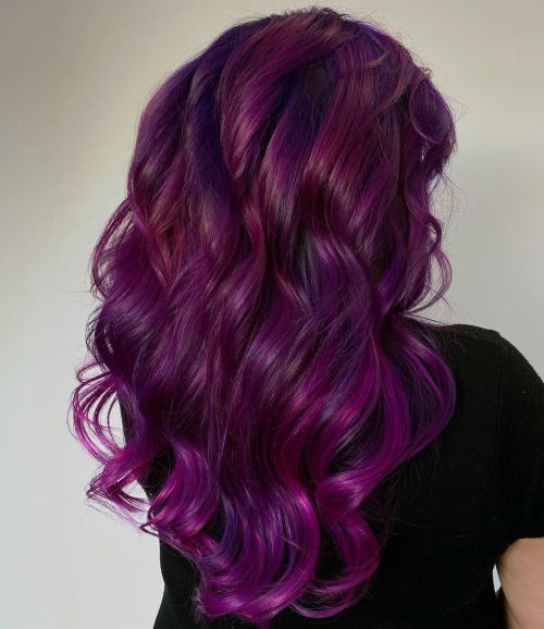 Dimensional Purple Color Hairstyle