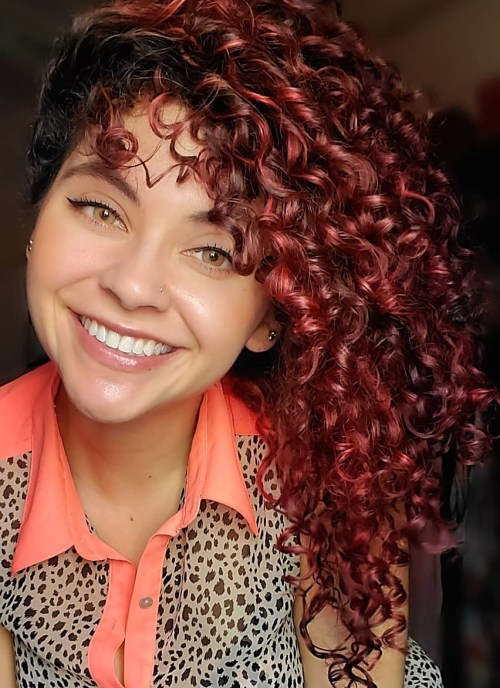 Curly Hair with Red and Auburn Highlights