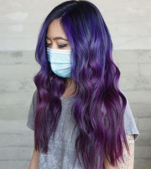 Cool Toned Blue to Purple Balayage on Dark Hair