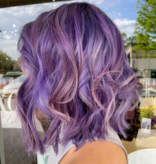 Pastel Purple Bob with Highlights and Lowlights