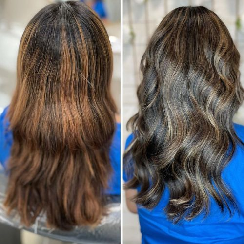 Highlighted Brown Hair Before and After Using a Blue Toner