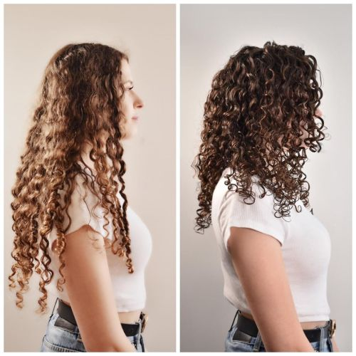 Curly Hair Before and After Adopting the Right Drying Routine