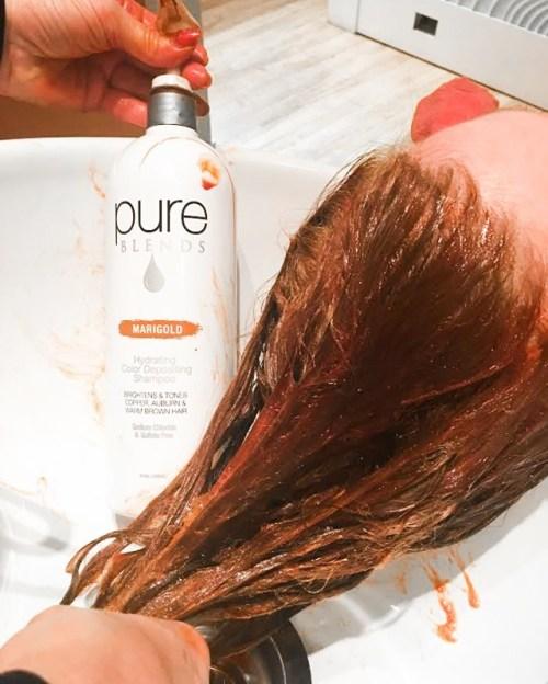 Toning Gray Hair with a Color Deposing Shampoo