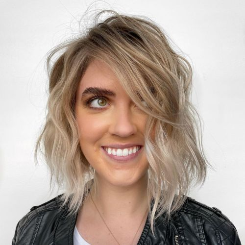Angled Bob with Dirty to Platinum Blonde Ombre