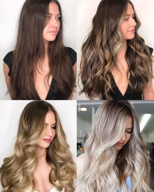 Brunette Going Blonde Stages of Transformation