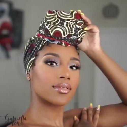 African Headwrap with High Bun