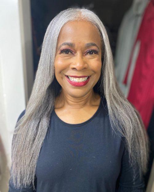 Long and Straight Gray Hair