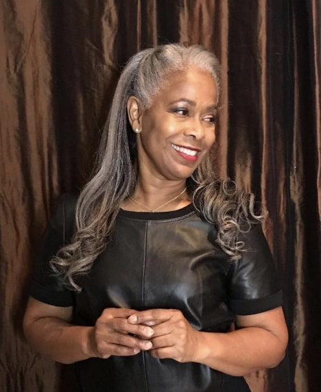 Black Woman with Long Gray Hair
