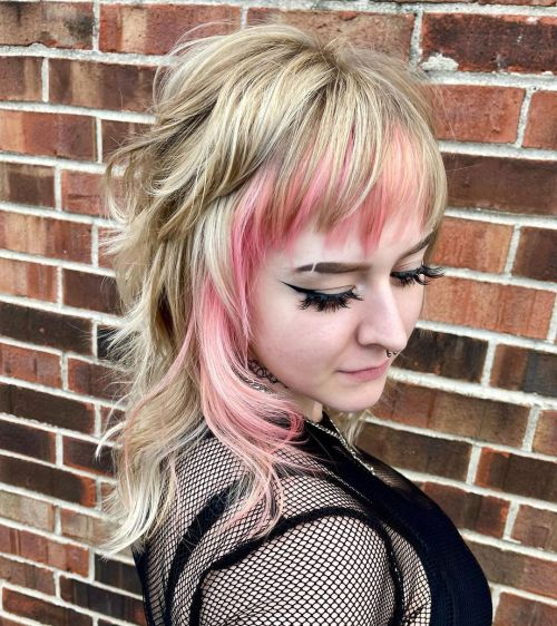 Blonde Shag with Pink Highlights