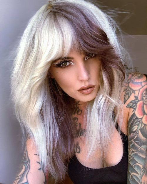 White Blonde and Brown Block Hair Color