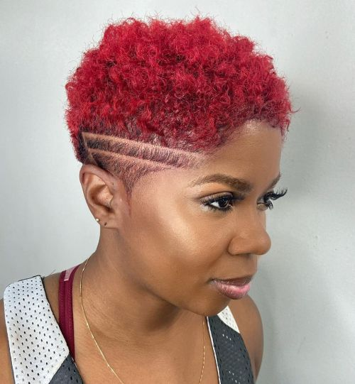 Bright Red TWA Style for Black Women