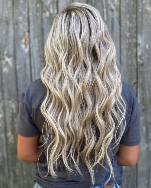Long Wavy Ash Blonde Hairstyle