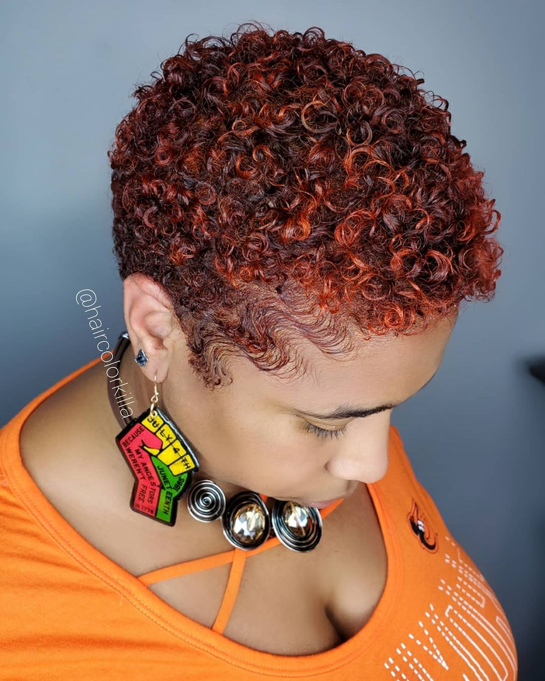 Short Afro Hair Colored Deep Red and Copper