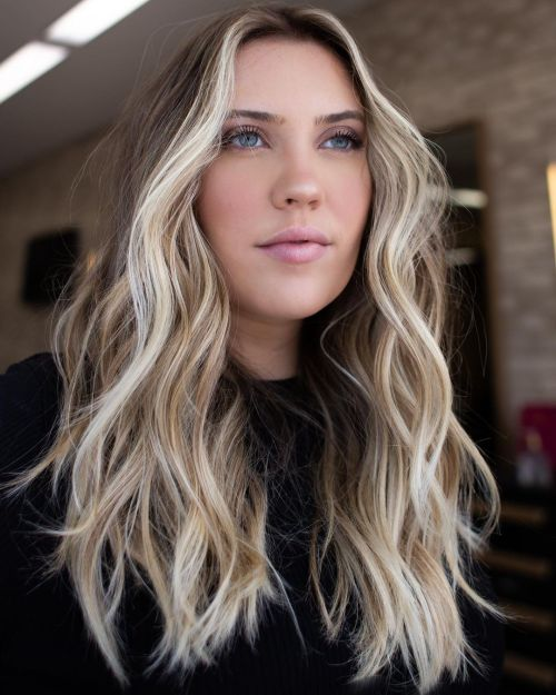 Darker Blonde Balayage and Front Streaks