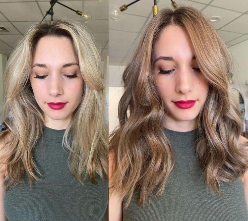 Colorindo cabelo loiro castanho claro