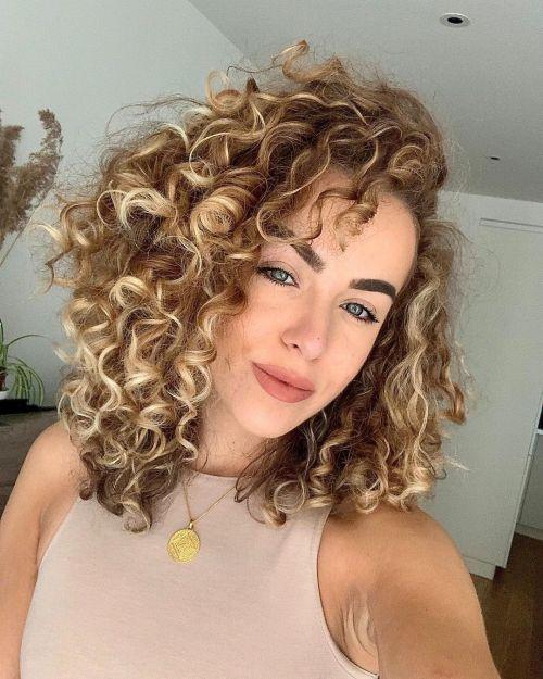 Highlighted Dark Blonde Curls