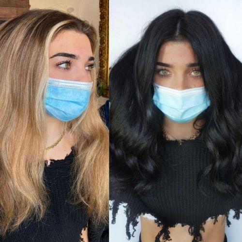 Transformação de cor do cabelo loiro para preto