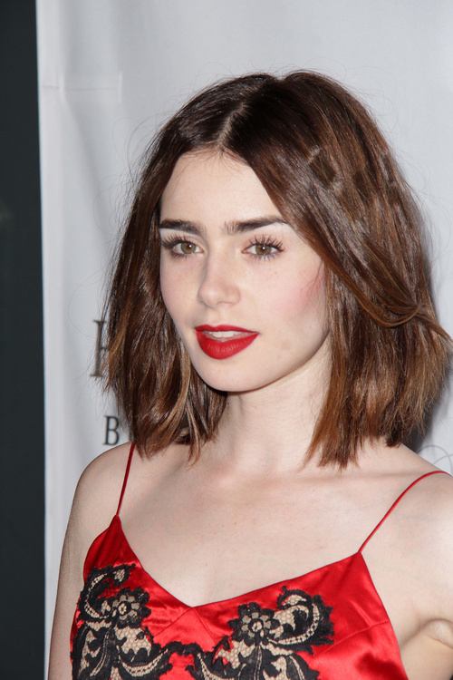 Lily Collins bob haircut for girls
